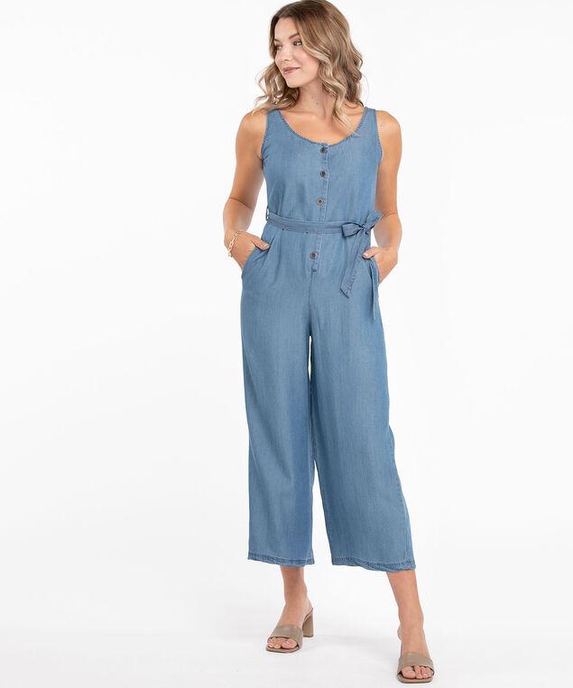 Tencel Sleeveless Jumpsuit, Light Blue