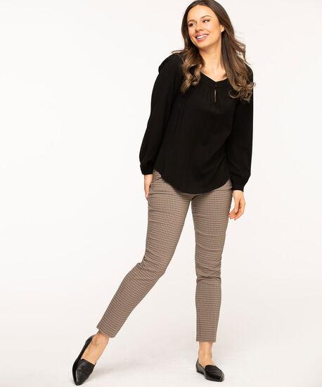 Brown Mini-Plaid Slim Leg Pant, Brown/Camel/Sand, hi-res