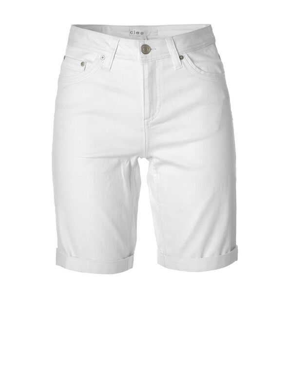 White Denim Bermuda Short, WHITE, hi-res
