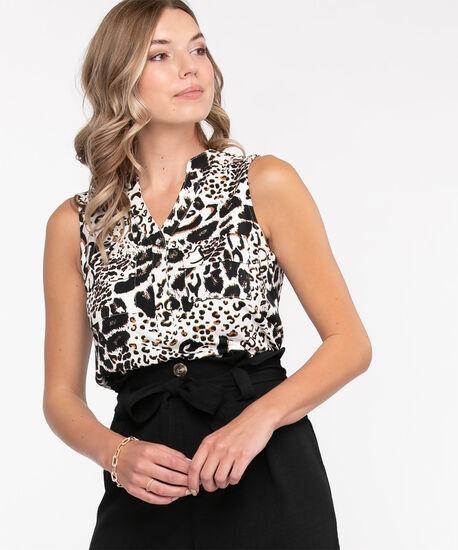 Sleeveless Y-Neck Knit Top, White Animal Print, hi-res