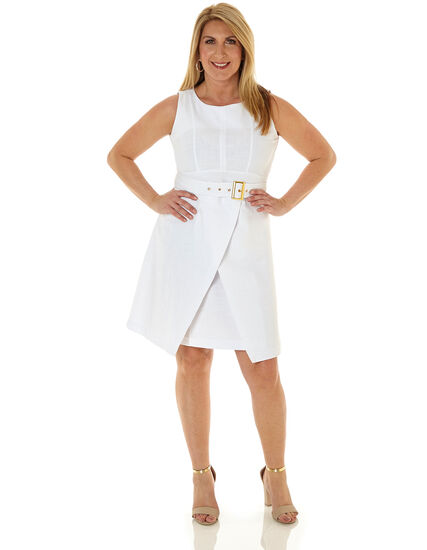 White Belted Fit & Flare Dress, White, hi-res