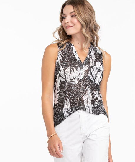 Black Sleeveless Burn-Out Print Top, Black/White Leaf, hi-res