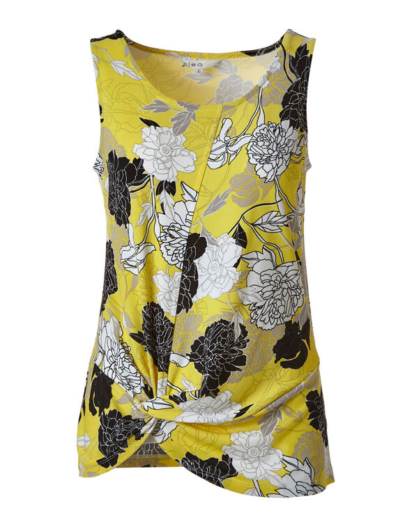 Yellow Crepe Front Knot Top, Yellow, hi-res