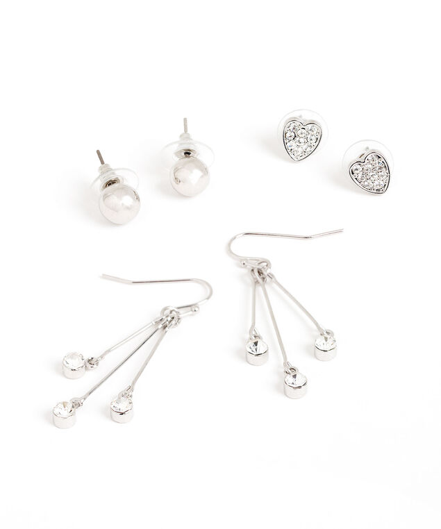 Silver & Crystal Earring 3-Pack, Silver