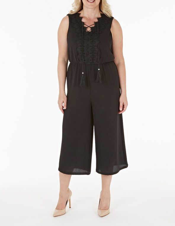 Black Lace Front Jumpsuit, Black, hi-res