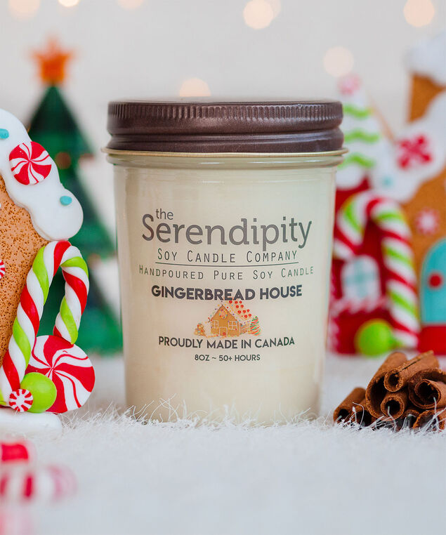 Gingerbread House Soy Candle, White