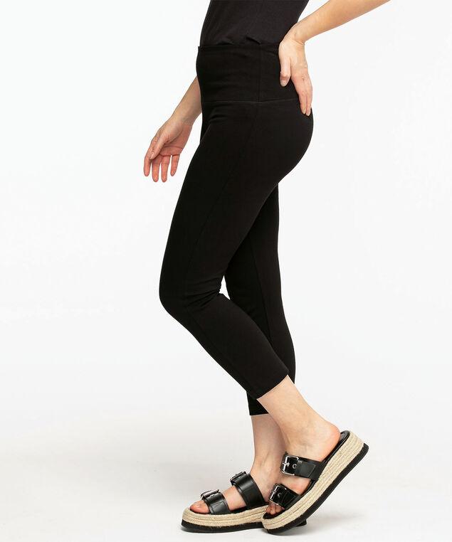 Cotton Blend Capri Legging, Black