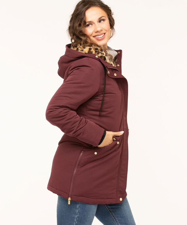 Hooded Faux Down Zipper Parka, Mulberry