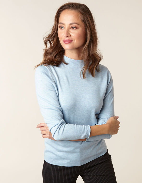 Blue Recycled Mock Neck Sweater, Blue, hi-res