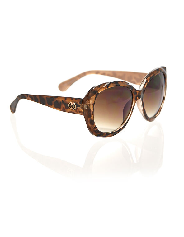 Brown Animal Print Sunglasses, Brown, hi-res