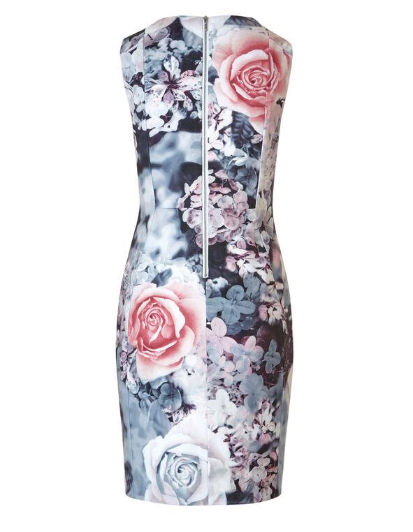 Grey Floral Sheath Dress, Grey/Pink, hi-res