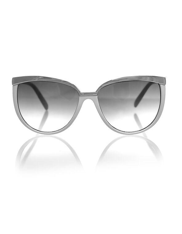 White Large Frame Sunglasses, White, hi-res