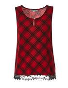 Red Plaid Lace Hem Top, Red, hi-res