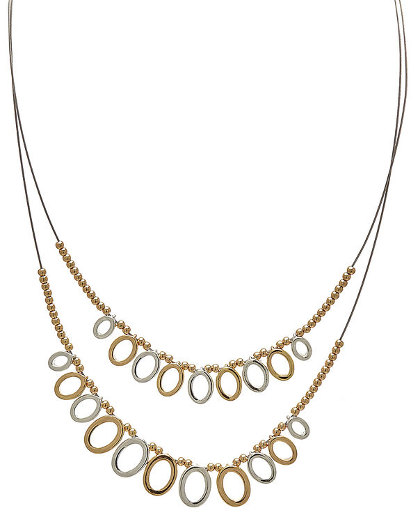 Circular Short Wire Statement Necklace, Silver/Gold, hi-res