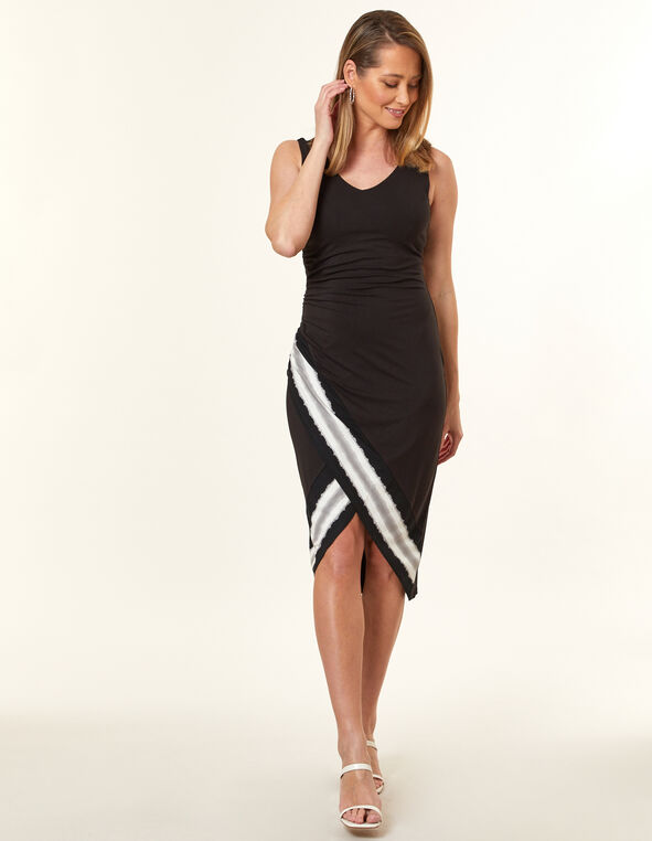 Black Ruched Midi Dress, Black, hi-res