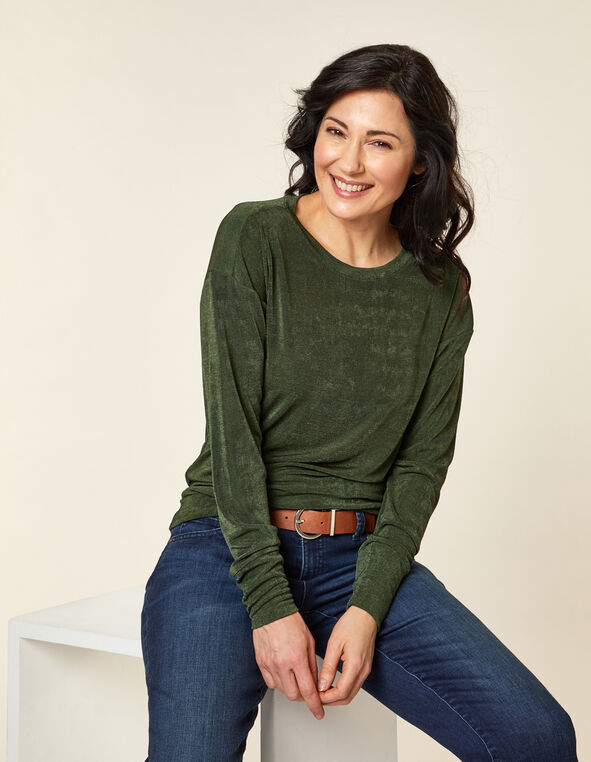 Olive Slinky Knit Top, Green/Olive, hi-res