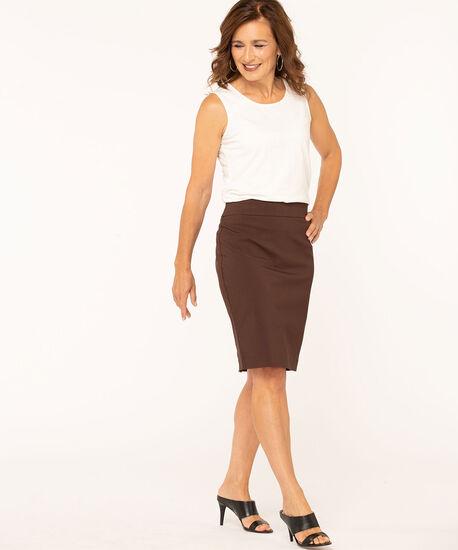 Brown Pull On Pencil Skirt, Brown, hi-res