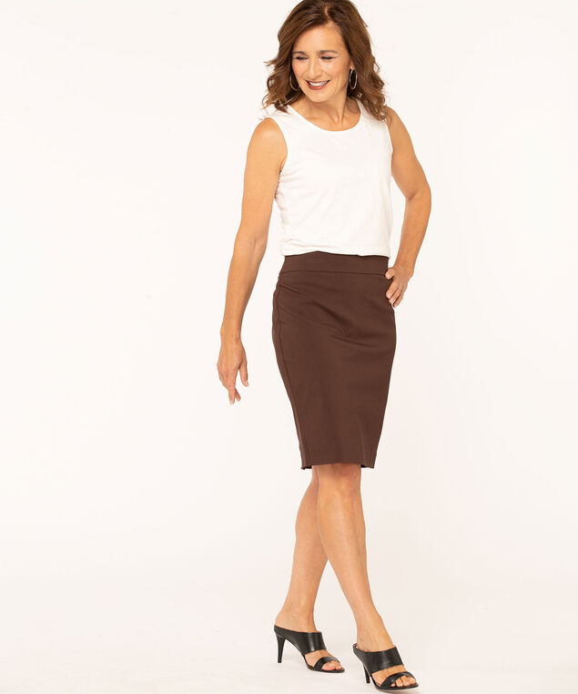 Brown Pull On Pencil Skirt, Brown, hi-res