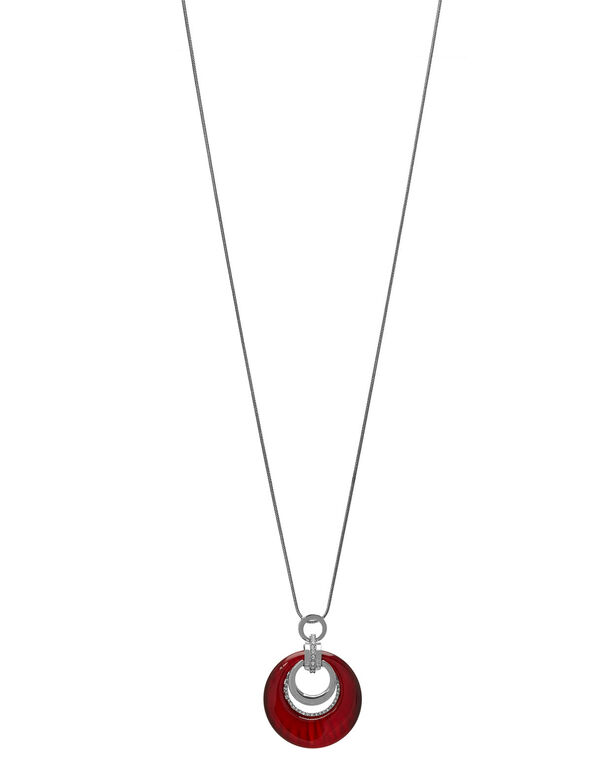 Ruby Cat Eye Long Necklace, Red, hi-res