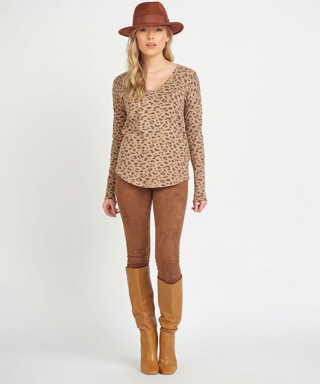 Dex Animal Print Long Sleeve Top, Light Brown Leopard