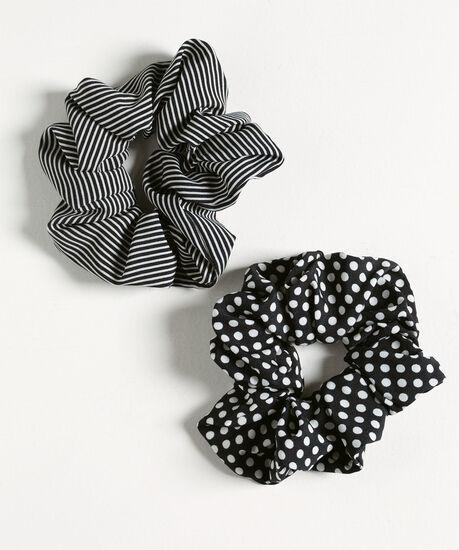 Patterned Scrunchie 2-Pack, Black/White, hi-res