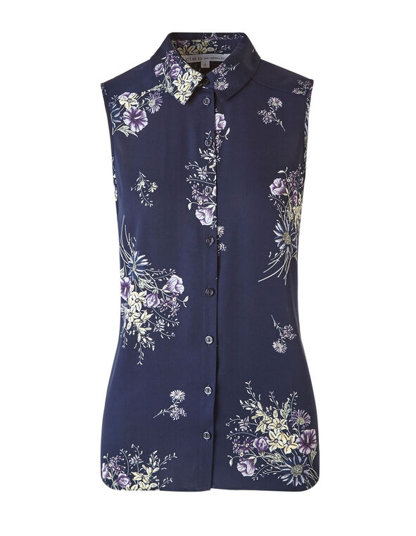 Navy Floral Button Front Blouse, Navy, hi-res
