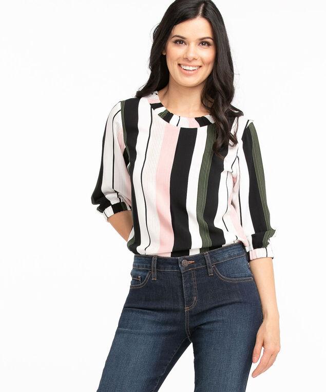 Ruched Scoop Neck Blouse, Black/Ivory/Pesto/Pink Stripe