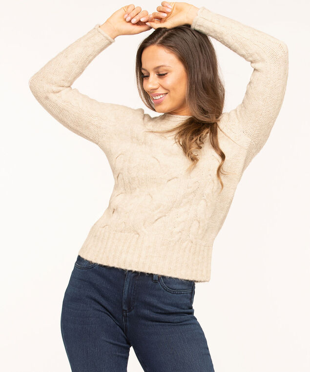 Oatmeal Cable Stitch Mock Neck Sweater, Oatmeal Mix, hi-res