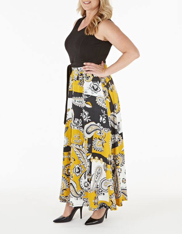 Black Patterned Maxi Dress, Black, hi-res