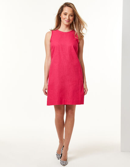 Hibiscus Linen-Blend Dress, Pink, hi-res