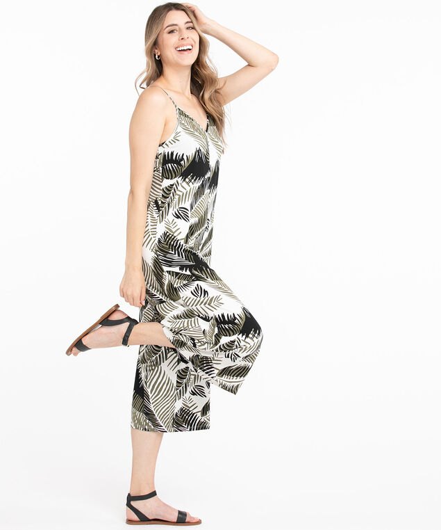 Tropical Sleeveless Jumpsuit, Ivory/Green/Black