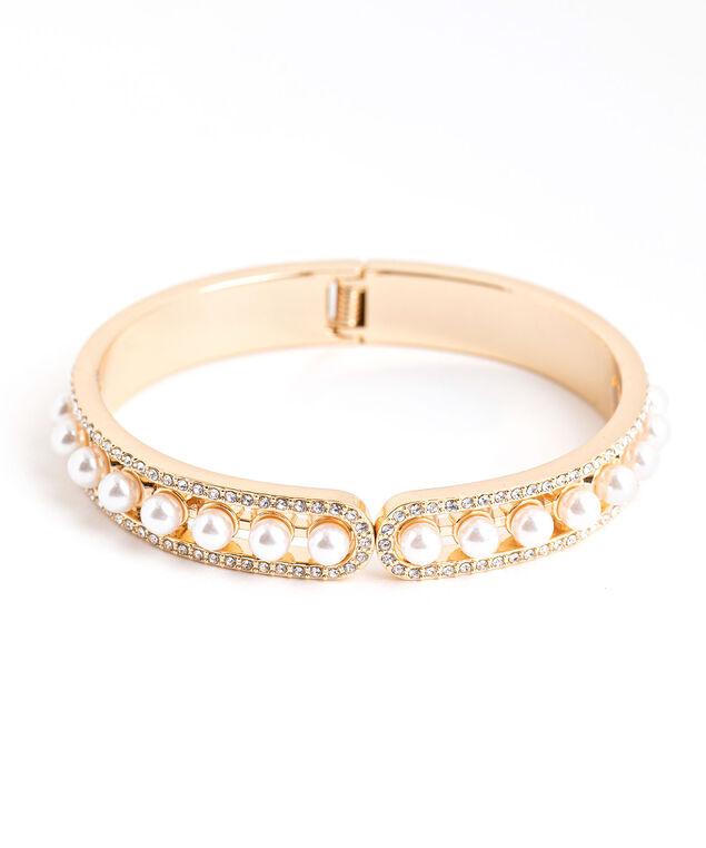 Gold Pearl Hinge Bracelet, Gold