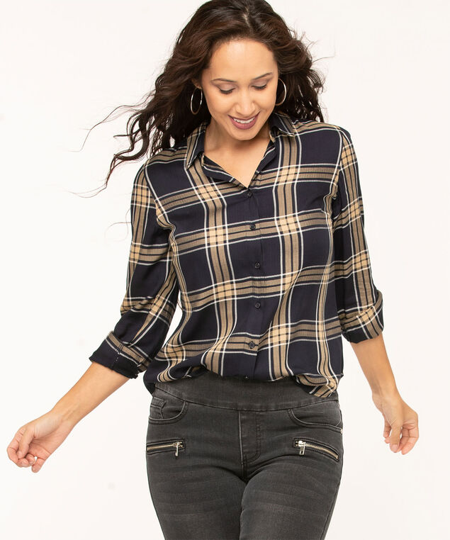 Navy Plaid Button Front Blouse, Navy/Camel, hi-res