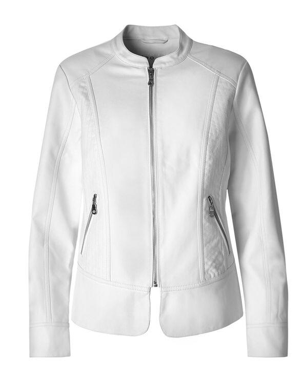 White Peplum Faux Leather Jacket, White, hi-res