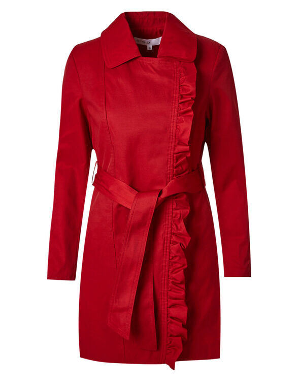 Ruffle Asymmetrical Trench Coat, Red, hi-res