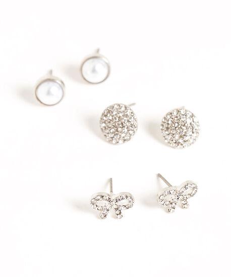 Crystal & Pearl Trio Earring Set, Silver/Pearl, hi-res