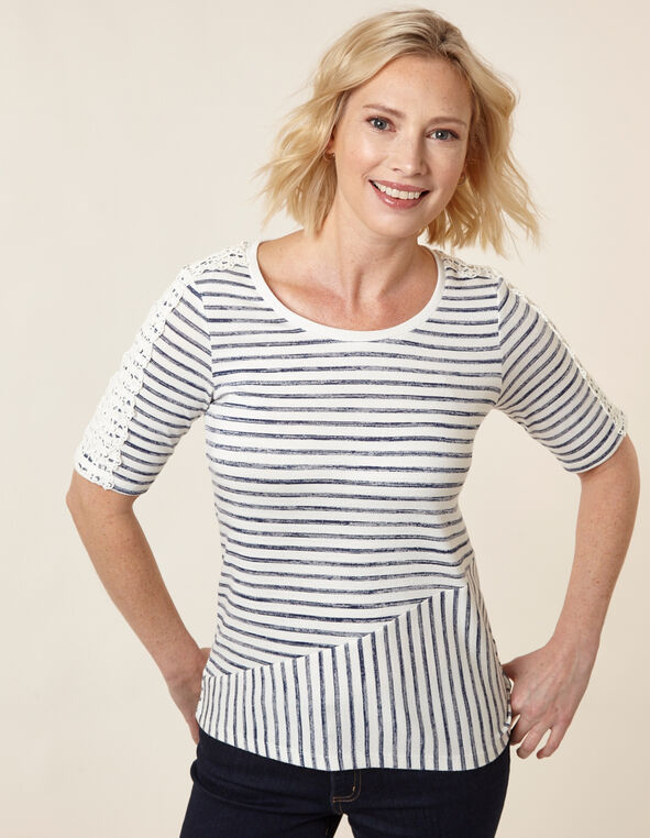 Stripe Hacchi Top, Navy/White, hi-res