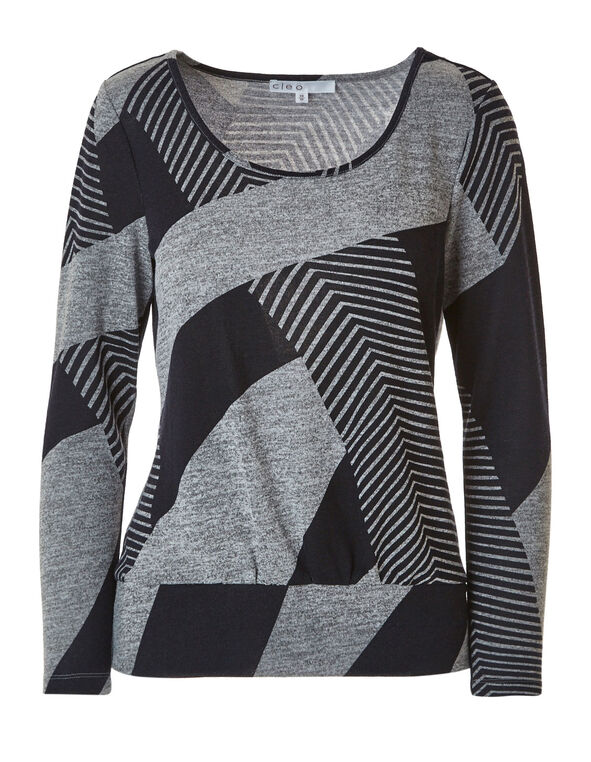 Navy Striped Hacchi Top, Navy/Grey, hi-res