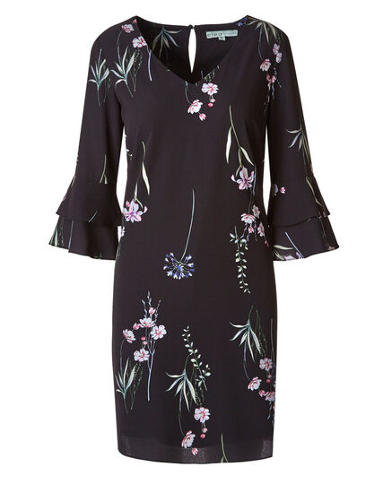 Black Botanical Shift Dress, Black, hi-res