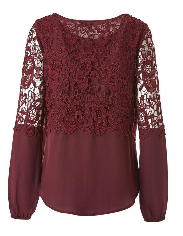 Merlot Crochet Chiffon Blouse, Merlot, hi-res