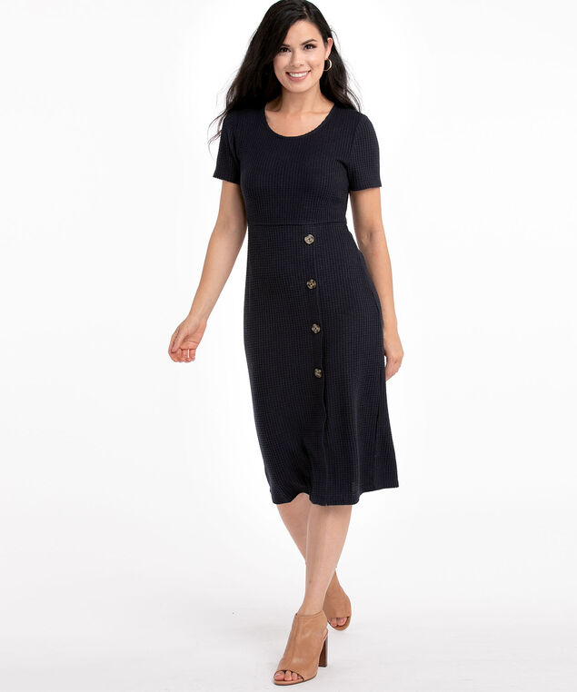 Waffle Knit Button Front Dress, Navy