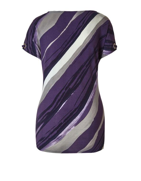 Purple Pattered Tie Hem Top, Purple/Grey, hi-res