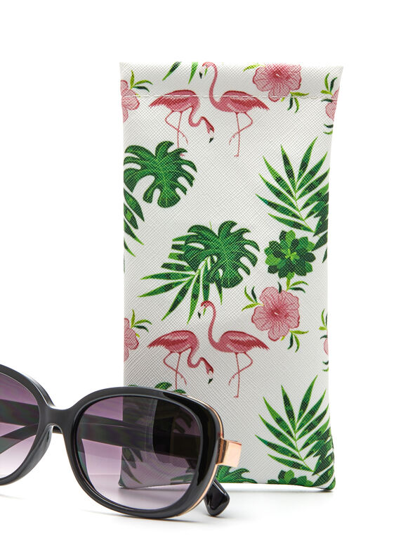 Flamingo Sunglasses Case, Pink/Green, hi-res