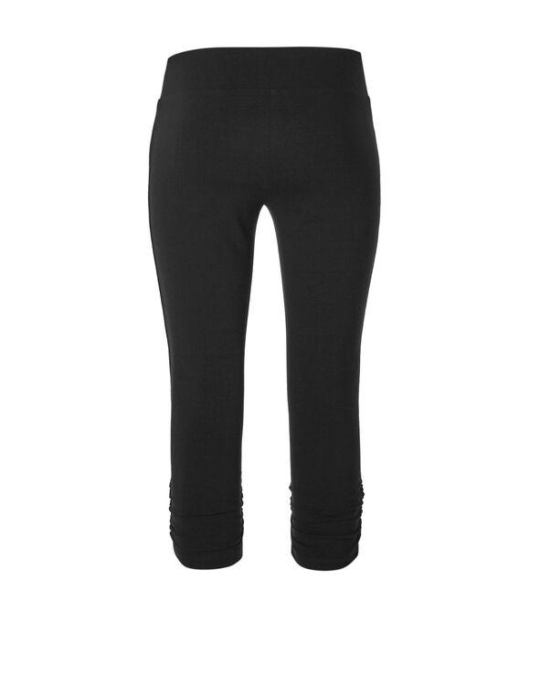 Black Cotton Ruched Capri, Black, hi-res