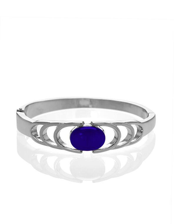 Blue Cat Eye Hinge Bracelet, Blue, hi-res