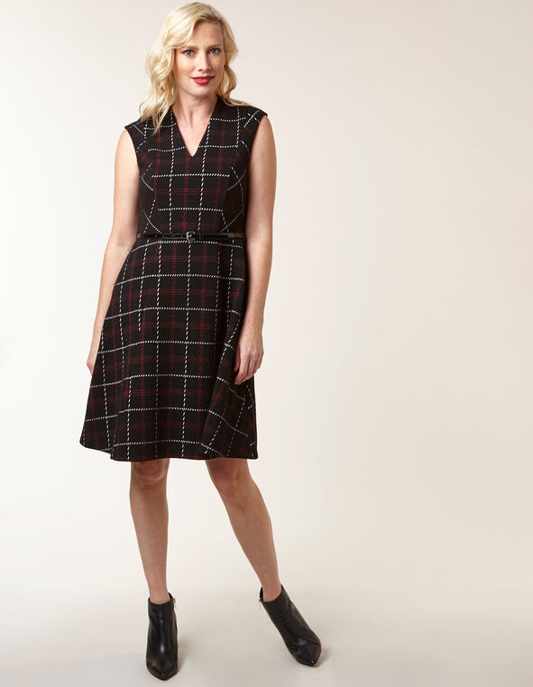 Black Plaid Jacquard Fit & Flare Dress, Black, hi-res