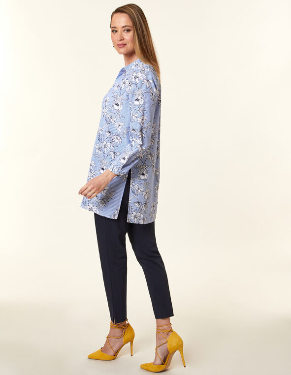 Blue Floral Stripe Tunic Blouse, Blue, hi-res