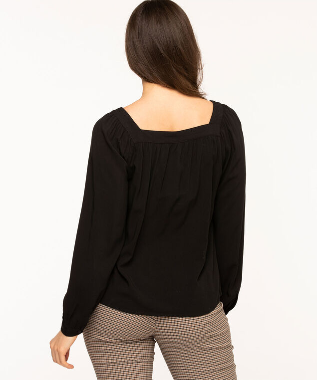 Black Square Neck Gathered Blouse, Black