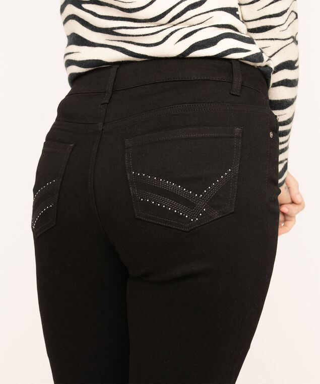 Black Straight Leg Blingy Jeans, Black