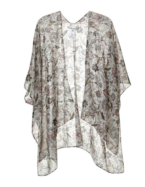 Floral Paisley Print Kimono , White, hi-res